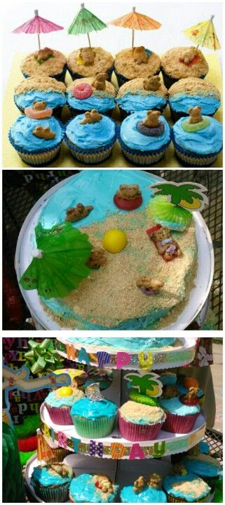 Luau Party Cupcakes I used a cupcake stand and made a cake for the top tier for more decorative appearance. Very great idea but time consuming