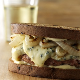 Blue Cheese Chicken Patty Melts with Grilled Onions