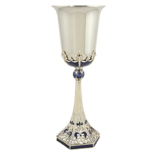 This is an elegant and stunning design which has it's inspiration from European synagogues. The filigree and Swarovski crystals create a timeless Kiddush Cup that will mark the start of your new life under the chuppah, and then for every Simcha there after.