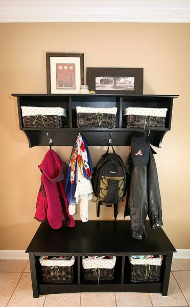 """Entry way organization; LOVE THIS!!!!! What a great way to give everyone a place to """"drop their stuff"""" instead of a kitchen counter or floor near the door"""