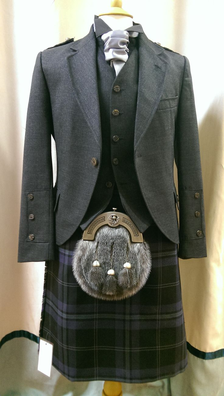 #Silver Thistle kilt with Grey Arrochar Tweed Crail Jacket with matching five button waistcoat.