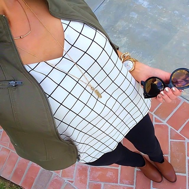 Express Olive jacket + Express windowpane cami + black skinnies + cognac booties [Instagram - @ontheDailyX]