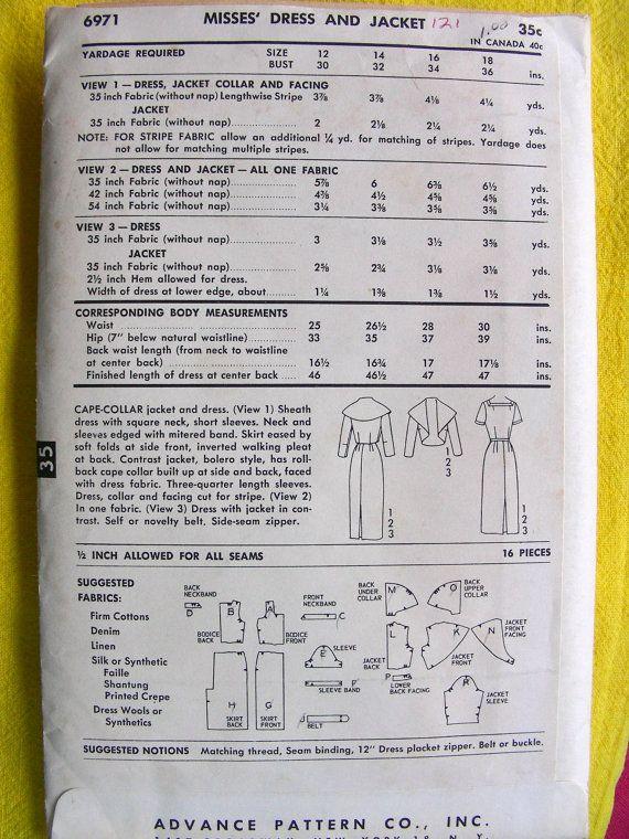 Voorschot 6971; ca. 1955; Cape kraag jas en jurk. Bekijk 1 foedraal jurk met vierkante hals, korte mouwen. Hals en mouwen omzoomd met mijtervormige band. Rok verlicht door de zachte plooien kant vooraan, omgekeerde wandelen plooi aan achterkant. Contrast jas, bolero stijl, Kaap kraag opgebouwd aan zijkant heeft terugdraaien en terug, geconfronteerd met jurk stof. Drie kwart mouw lengte. Jurk, kraag en gerichte gesneden voor stripe. Weergave 2 in een weefsel. Bekijk 3 jurk met jasje in…
