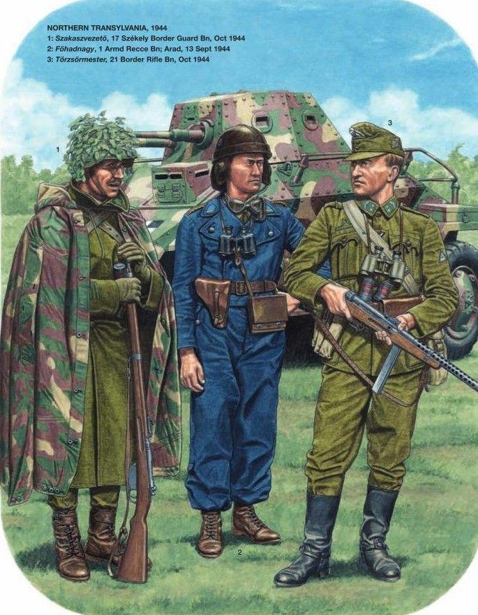 Esercito Ungherese, Transilvania, 1944 - 1 Szaskarsvezeto, 17° Battaglione Guardie di Confine, dic. 1944 - 2 Fohadnagy, 1° Battaglione da Ricognizione Motorizzato, Arad, set. 1944 - 3 Torzsomeister, 21° Battaglione Fucilieri di Confine, Ott. 1944.