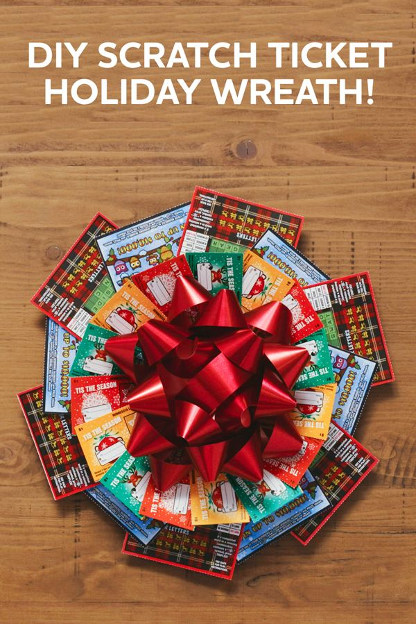 This scratch ticket holiday wreath is so cool! It's really easy to make - you have everything in your house already! Just pick up the tickets. Would be a fun idea for a holiday party.