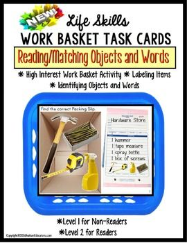 LIFE SKILLS Work Task Basket  PACKING SLIP Functional Reading and Matching for Special Education and AutismHighly motivating, with real-life objects that both kids and teens have seen, or are familiar with. This engaging activity is perfect for your independent work task area!