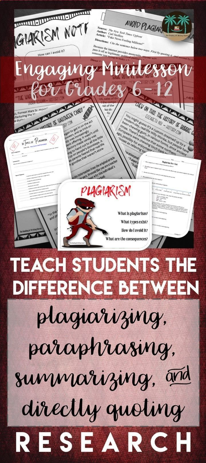Teach Student The Basic Of Plagiarizing Summarizing Paraphrasing And Directly Quoting Research With Thi Conci Plagiarism Lesson Teaching Writing In Text Citation Mla