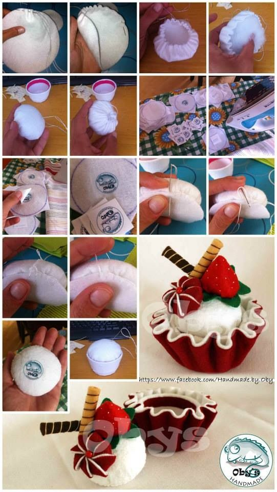 Tutorial with details of felt cup cupcake and of homemade tag
