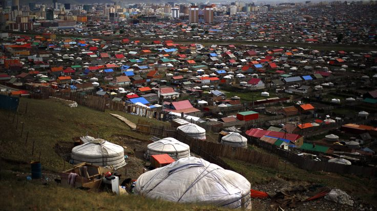 Gers, traditional Mongolian tents, are seen on a hill in an area known as a ger district in Ulan Bator