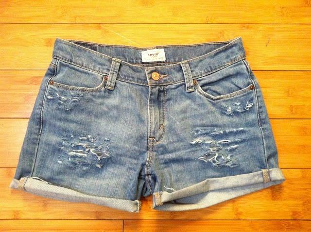 DIY Distressed Denim Shorts