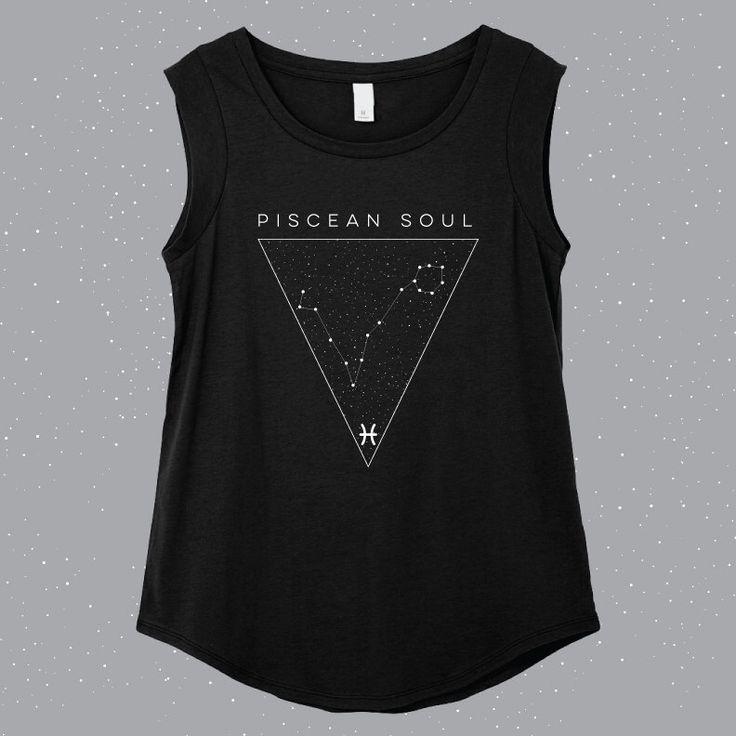 Piscean Soul | Pisces Sleeveless Shirt door RebelSeedClothing op Etsy https://www.etsy.com/nl/listing/266148218/piscean-soul-pisces-sleeveless-shirt