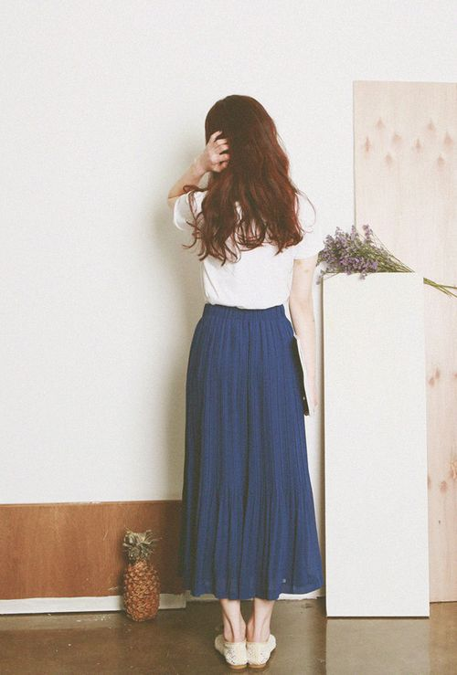 White Maxi and Blue Skirt  /  easy + simple  /  Inspiration for Hijab, hijab fashion, hijab style