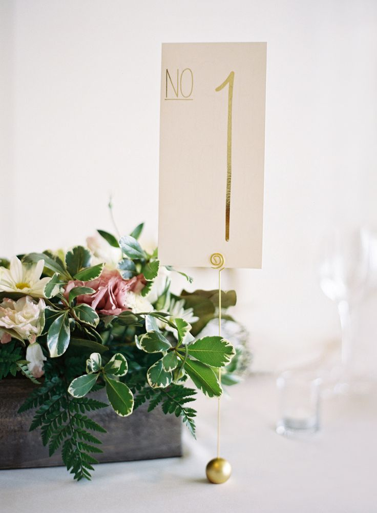 gold table numbers Photography: Jose Villa Photography - josevillaphoto.com  Read More: http://www.stylemepretty.com/2014/07/10/classic-affair-in-san-francisco-with-a-modern-twist/