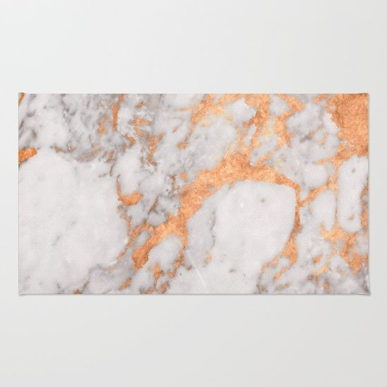 A elegant copper & marble rug. Minimal classic modern decoration for your home. Welcome guests with a gorgeous welcome mat. Rose gold, white, grey, gray, metallic, stone, granite.
