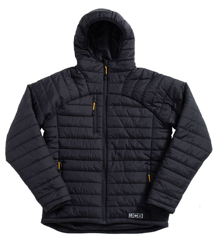 Lightweight Black padded jacket, Mini Rip-stop fabric, Showerproof, Elasticated hood and cuffs with adjustable inside hem with toggle fastener, YKK Zipped chest and side pockets, Reflective JCB branding detail, Contoured back hem for comfort. FABRIC: Outer fabric: 310T Nylon Rip-Stop, Padding: 100% Polyester, Lining: 100% Polyester Taffeta. #weightlifting