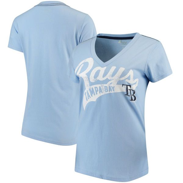 Tampa Bay Rays G-III 4Her by Carl Banks Women's Away Game V-Neck T-Shirt - Light Blue - $19.99