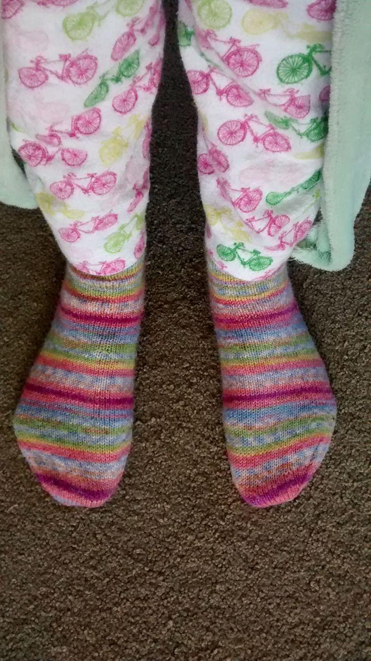 My first 4 dpn socks, still love. Pj pants, a must every autumn