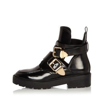 Bottes De Chaussures Noires Avec Deux Boucles Île Fluviale Lm2jb