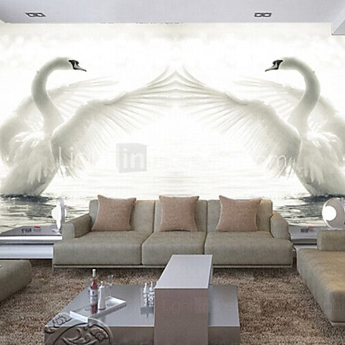 3D Shinny Leather Effect Large Mural Wallpaper White Swan Art Wall Decor for Living Room TV Soaf Background - USD $74.98