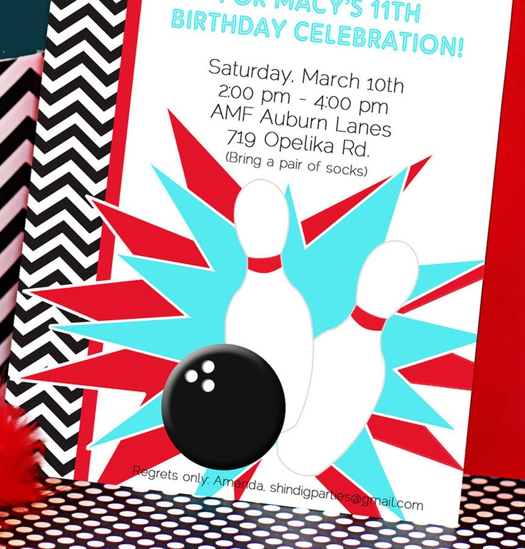 34 best Bowling Party images on Pinterest 7th birthday, Bowling - bowling invitation