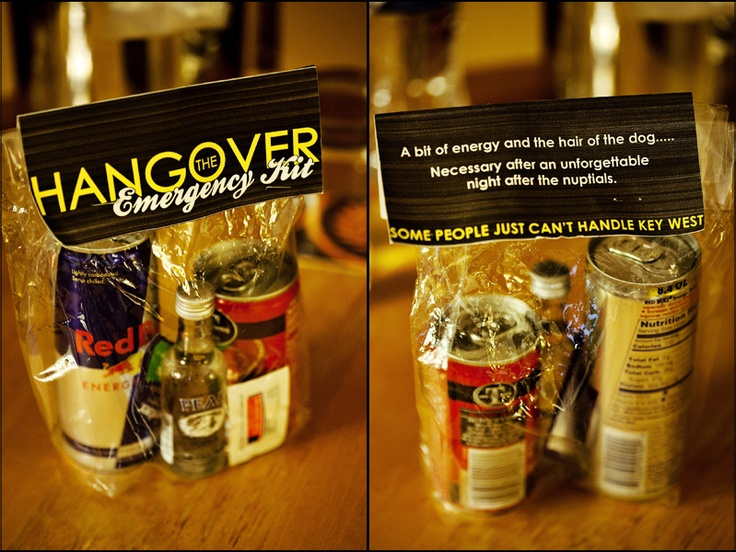 Guest Favors -- small bottles of liquor and Red Bull... A little hair of the dog.