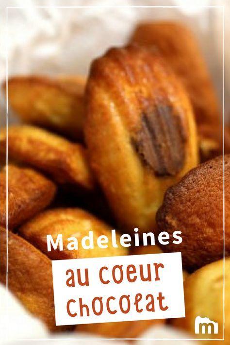 Madeleines au coeur chocolat /// #madeleine #chocolat #goûter #gâteau #saintvalentin #marmiton #recette #cuisine