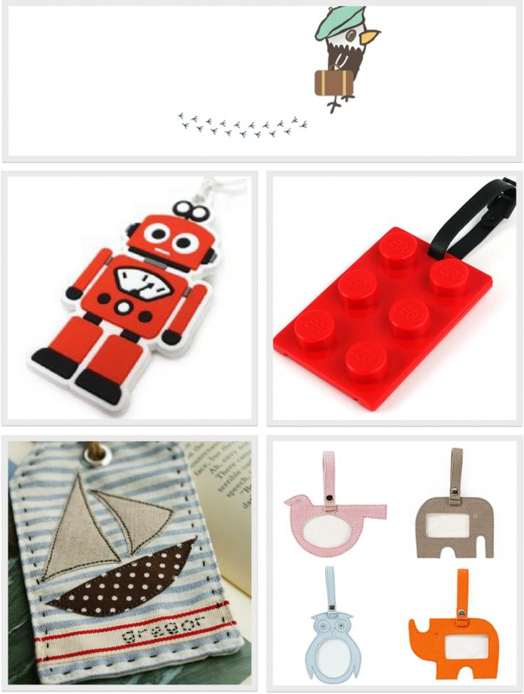 colourful and fun luggage tags for kids
