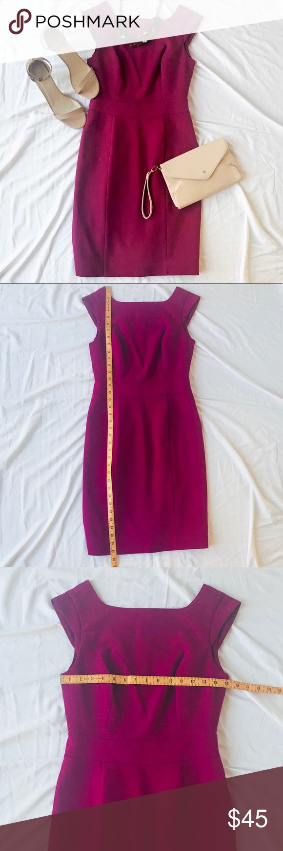 The Limited Dark Magenta Sheath Dress Size 2 The Limited Dark Magenta Sheath Dress Size 2 - The color is a dark magenta, with more red than purple. Almost close to a burgundy. - Can be worn to work with a blazer or cardigan or dress up with some jewelry for a date night. - Hidden back zipper with hook & eye closure - Machine washable - Excellent condition  - Wear to work dress, career dress, job interview dress, business casual dress, Valentine's Day dress, date night dress,- Wear to work…