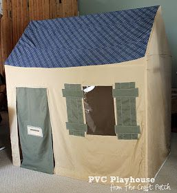 Make a canvas cover for a pvc pipe playhouse