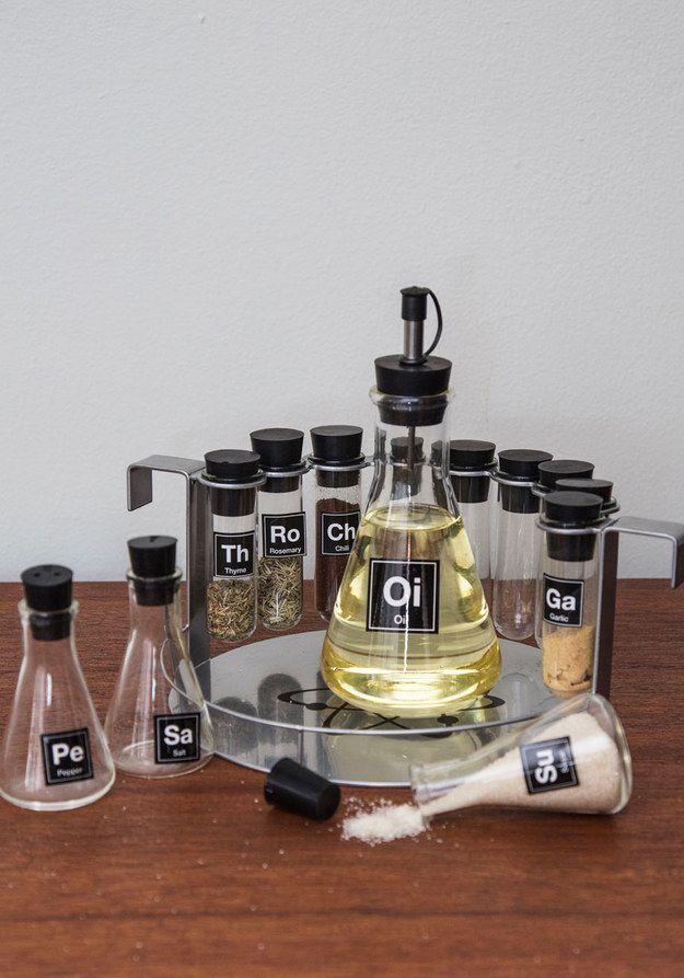 A prateleira de temperos para fazer a sua cozinha mais como um laboratório. | 27 Gifts Only Math And Science Nerds Will Appreciate