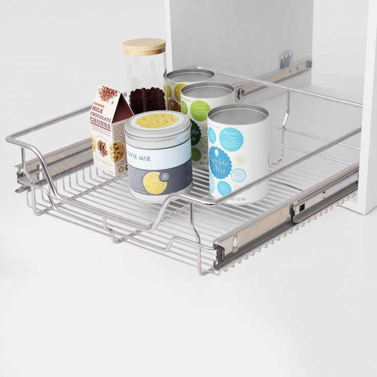 Kitchen Pull Out Basket Home Wire Set 2 Pieces Cabinet Organiser Metal Drawers #KitchenPullOutBasket