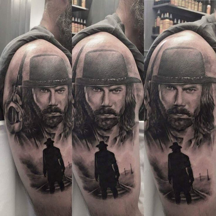 Cowboy tattoo by Boris Limited availability at Holy Trinity Tattoo Studio