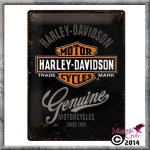 Harley Davidson Motorcycles Genuine Tin Sign. Size is approx  30 x 40 cm. The sign is made of steel and is presented on a backing card, and sealed in a poly bag.