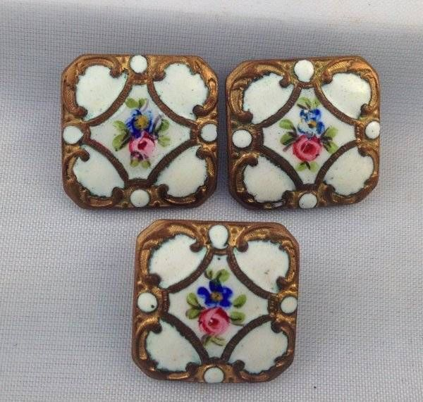 Vtg Antique Victorian Buttons Early White Enamel Floral Rose Gold Swirls Set 3