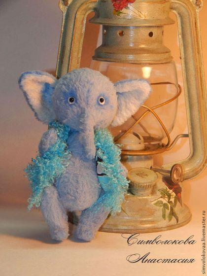 Я -мамонтёнок. - голубой,авторский тедди,слон,слоник,мамонтенок,мамонт