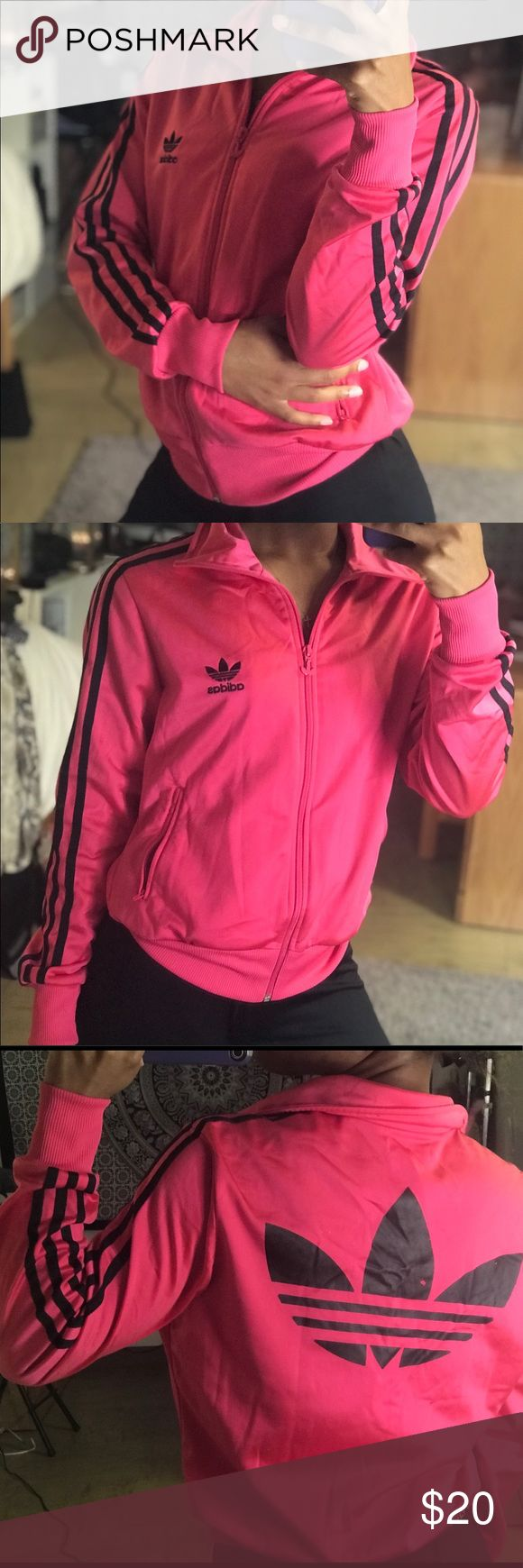 Pink adidas zip up jacket This is authentic and real. Size medium. Not sure if it's a kids medium or adult medium. I usually wear a size small in women's. Price is FIRM adidas Tops Sweatshirts & Hoodies