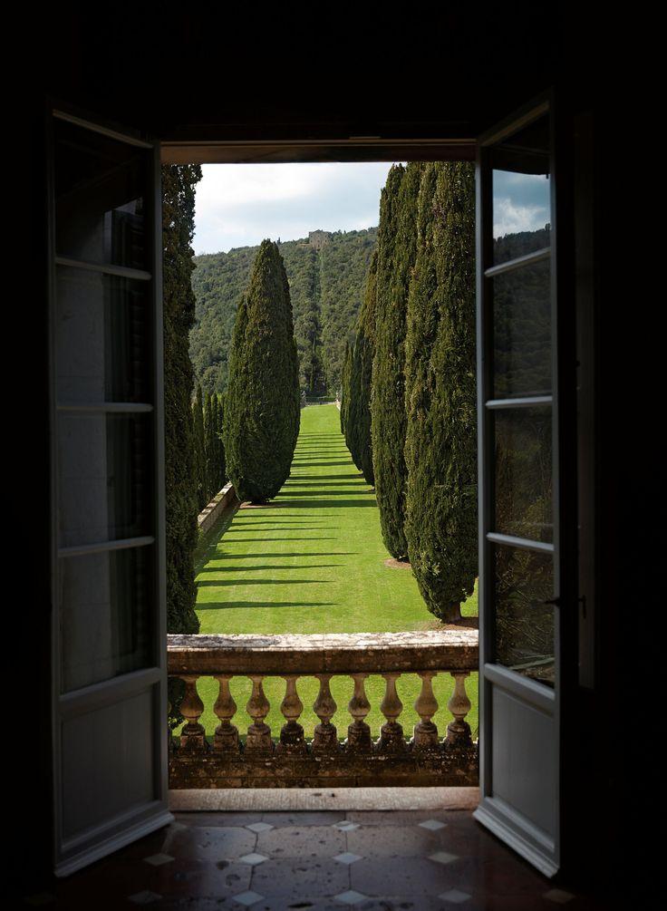 A vista no Villa Cetinale artisticamente é forrado com ciprestes altas, oliveiras e jardins impecáveis