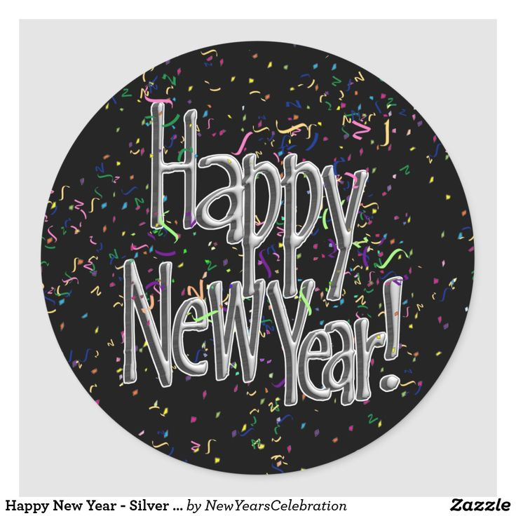 Happy New Year Silver Text w/Black Confetti Classic