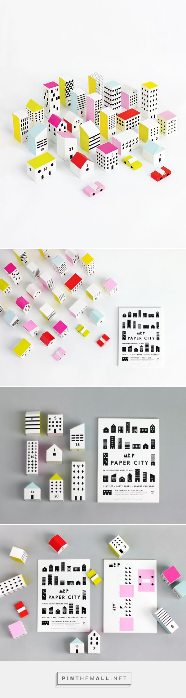 PAPER CITY | 24 cards with pre-cut and pre fold lines | Ready to make building boxes numbered 1-24 | Perfect for imaginary play & hiding little treats inside each house.