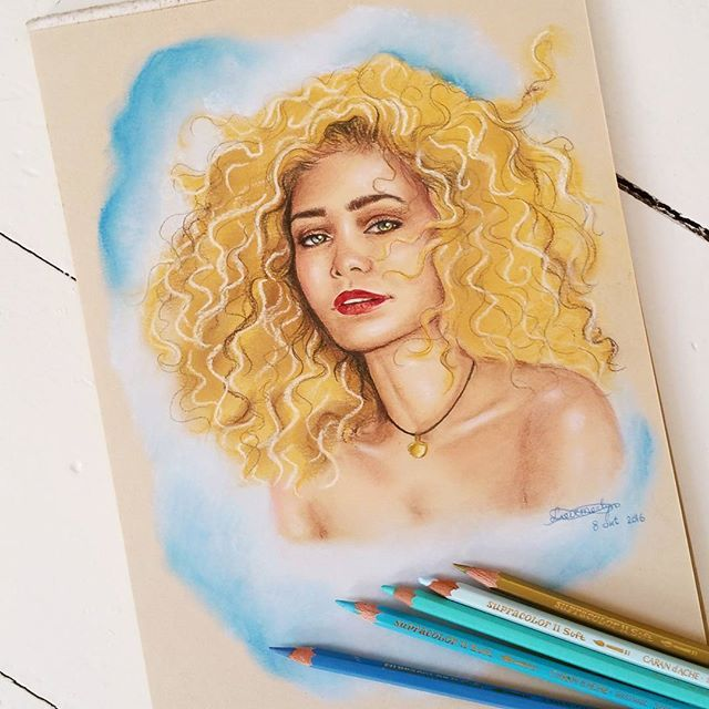 """Cherie  """"Draw me like one of your french girls""""❤ @hntm_cherie  #cherie #cherry #blossom #drawing #pasteldrawing #curls #curlyhair #hair #blonde #blondehair #blondegirl #eyes #greeneyes #justinbieber #selenagomez #arianagrande #model #hntm #art #ink #pencil #coloredpencil"""
