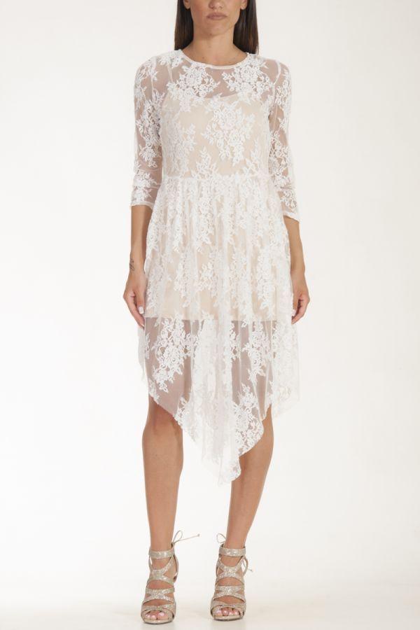 Φόρεμα με δαντέλα λουλούδια μέχρι το γόνατο κρεμ γυναικείο glamorous