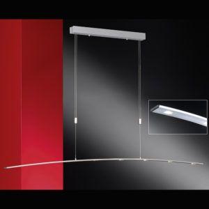 Höhenverstellbare Pendelleuchte leicht gebogen in Aluminium matt