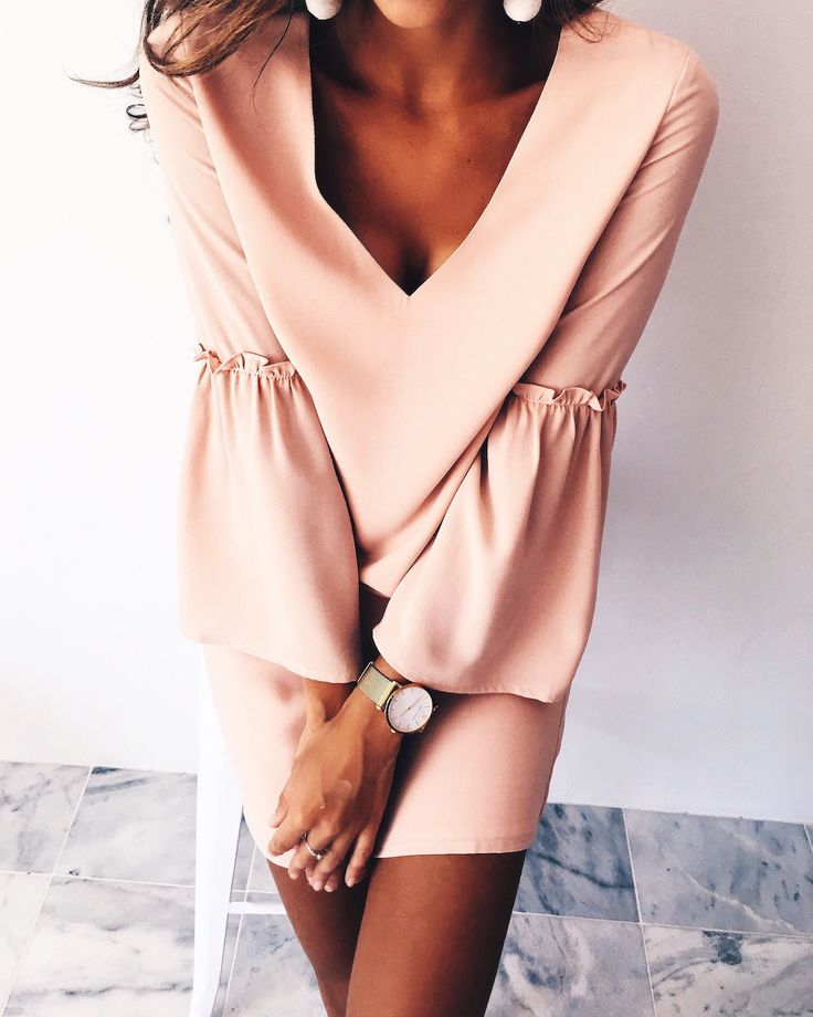 blush pink bell sleeves