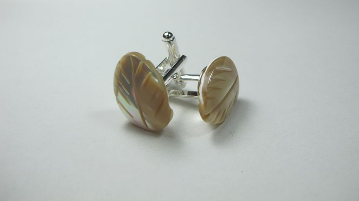 Cufflinks with mother of pearl. Nickel free steel support