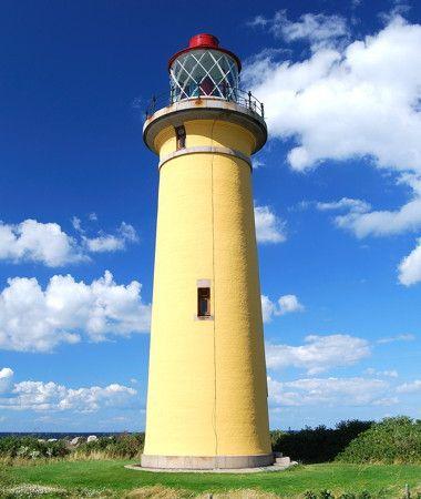 Langelands Øre Light, Omø. Lighthouse on the West Coast of Denmark, near the Baltic Sea.