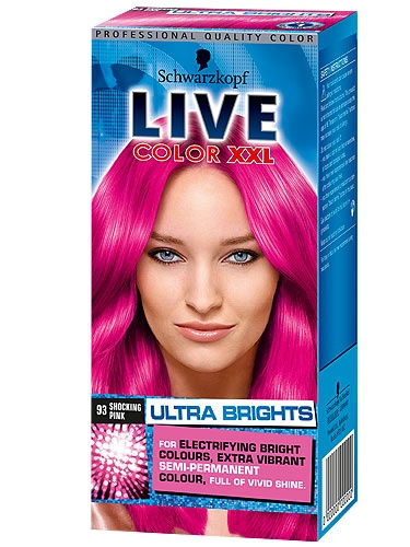 """Schwarzkopf LIVE Colour XXL Ultra Brights in Shocking Pink """"It's semi-permanent, so perfect if you want to experiment and be back to your usual colour in 6-8 washes. There's no fiddly mixing either; the dye comes in a re-sealable tube, so if you just want a strand of bright colour, or a dip you don't have to throw the rest away. Obviously the brightness of the colour depends on your natural hair colour."""""""