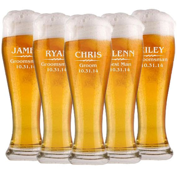 7 Groomsmen Pilsner Glasses, Personalized Beer Glass, 16oz Glasses, Gift for Groomsmen, Wedding Party Gifts, Beer Mug, Engraved Glasses on Etsy, $73.50