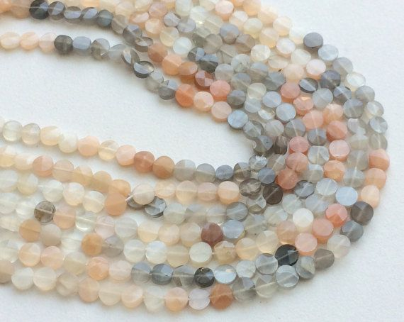 Multi Moonstone Faceted Coin Beads Natural by gemsforjewels