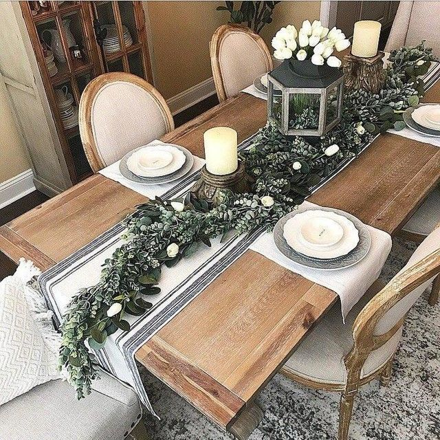 Pin By Cindy Mcmurry On Kitchen Ideas Dinner Table Decor Kitchen Table Settings Christmas Dining Table