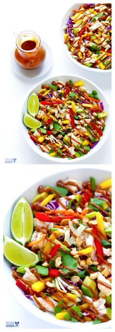 Rainbow Thai Chicken Salad (GF) -- made with tons of fresh veggies and topped with a heavenly peanut dressing | gimmesomeoven.com #glutenfree: Thai Chicken Salad, Chicken Salads, Fresh Veggies, Rainbows Thai, Salad Gf, Thai Salad, Gimmesomeoven With, Heavens Peanut, Peanut Dresses